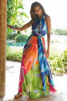 Why didn't I have this for summer?? Carnivale Dress I - Brightly Colored, Bold Print Maxi Dress, Dresses, Clothing | Soft Surroundings
