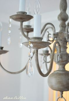 Dear Lillie: Making Over a Chandelier with Annie Sloan Chalk Paint in Paris Gray and dark wax.