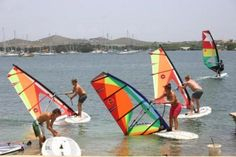 Windsurfing class on the water, Curacao