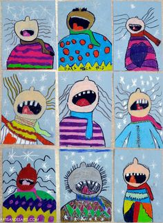 artisan des arts: Catching Snowflakes // Using pastels, they began by drawing the face (with the little button nose on top) then drew the scarf and body. Following that, they added in more details, such as the mouth, the hair, and the sweater pattern.