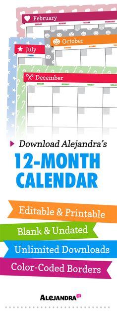 Printable 12-Month Calendar for 2014 (Undated) from https://www.alejandra.tv/shop/printable-home-organizing-checklists/alejandra_product/alejandras-12month-calendar/