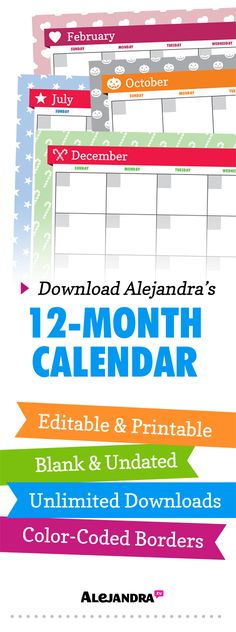 Printable 12-Month Calendar for 2014 (Undated) from https://www.alejandra.tv/shop/printable-home-organizing-checklists/alejandra_product/alejandras-12month-calendar/