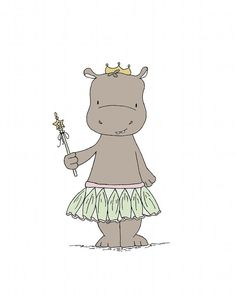 Hippo Princess Art  You can CUSTOMIZE this print to any colors you choose, either from the color chart or a picture or link, just let me know