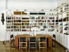 Charming Grandeur in Jordana Brewster's Heirloom-Filled L.A. Home   Architectural Digest Modern Bookshelf, Bookshelves, Ikea, Wood Columns, Ideas Prácticas, Room Screen, House Design Photos, Terrazzo Flooring, Master