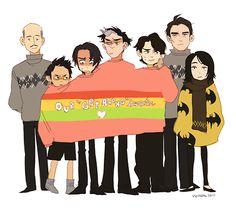 The Get-Along Sweater   (l/r) Alfred Pennyworth, Damian Wayne, Tim Drake, Jason Todd, Dick Grayson, Bruce Wayne, Cassandra Cain
