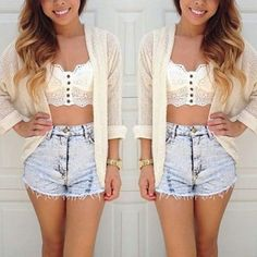 Summer Outfit - Lace Crop Top - Shorts - Open Knit Cardigan