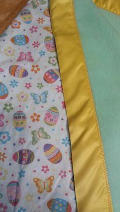 Easter- mint green fleece backing & yellow satin binding