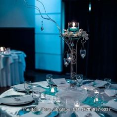 Tiffany Blue Lighting Wedding Reception Bella Sera