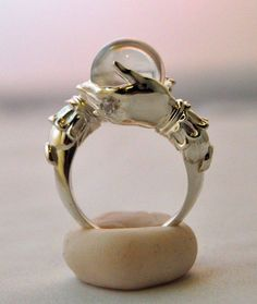 The Oracle ring. Sterling silver and clear quartz sphere by Keri Newton Jewelry Box, Jewelry Rings, Jewelry Accessories, Jewelry Design, Unique Jewelry, Jewlery, Handmade Jewellery, Witch Jewelry, Unique Rings