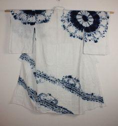 japanese Indigo dye shirakage-shibori kimono textile
