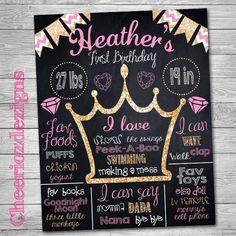 Chalkboard Any Birthday- Pink and Gold Glitter Theme - Princess Crown- Diamonds- Custom, Digital File- Milestone Birthday Poster by CheeriozDezigns on Etsy