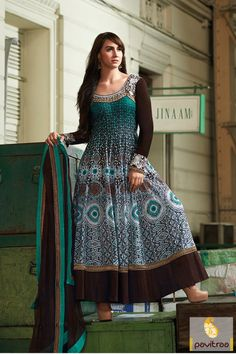 Brown and white Anarkali Salwar Suit is in purest georgette fabrics. The ever best butti worked, lace patti worked and printed worked anarkali salwar Suit.