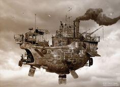 Best Airship for the gym!!  ....Airship sepia by AUMAKUA70.deviantart.com on @deviantART