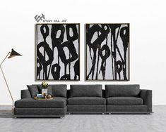 Set of 2 Flower Painting Large Canvas Wall Art Set of 2 image 6 Abstract Animal Art, Zebra Art, Large Canvas Wall Art, Black And White Painting, Mid Century Modern Art, Wall Art Sets, Animal Paintings, Etsy, Image