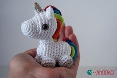 Tiny Rainbow Unicorn - Free Amigurumi Pattern here: http://www.ahookamigurumi.com/tiny-rainbow-unicorn-crochet-amigurumi-free-pattern/