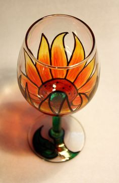 Painted Wine Glass  Flower  Sunflower  Yellow/Green by robinhanna, $25.99