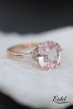 Oval Blush sapphire Rose gold ring. Campari design by Eidelprecious.