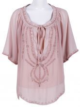Apricot Short Sleeve Bead Drawstring Chiffon Blouse $42.9