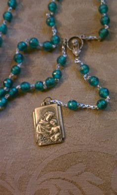 Vintage Irish Rosary Our Lady Virgin Mary and St. Joseph Holy Medal Vintage Catholic Green Prayer Beads Upcycled
