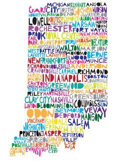 Indiana Word Art Shirt- Indiana Shirt- Word Art- I Love Indiana- Indiana Gift- Indiana Home- Indiana Map- Graduation Gift- Moving Gift Indiana Cities, Indiana Map, Indiana Love, Indiana Girl, Indiana State, Indiana University, Wisconsin, Michigan, Illinois