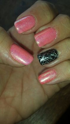 Glitter, coral and black