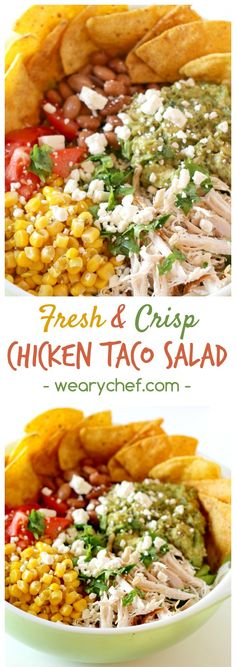 This fresh, healthy, and easy Chicken Taco Salad is a perfect summer dinner!