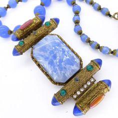 Art Deco Czech chalcedony ornate filigree paste glass bead necklace