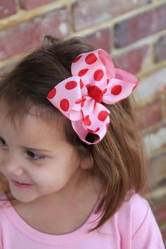 Items similar to Valentine Bow -- pink and red jumbo polka dots -- boutique bow for Valentines' Day on Etsy Baby Girl Valentine Outfit, Baby Girl Halloween Outfit, Valentines Outfits, Halloween Outfits, Boutique Bows, Hairbows, Maya, Polka Dots, Thanksgiving