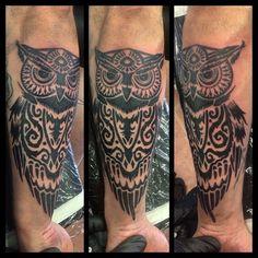 Just got done with this owl. Could for background to come. #inkimpressiontattoo #tattoo #tattoosociety #tattooedpeople #toptattooartist #tattooartistmagazine #aztattootimes #eternaltattooink #cottonwoodaz #oldtowncottonwoodaz #flagstaffaz #sedonaaz #owltattoos
