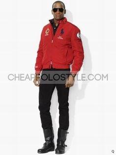 Cheap Polo Ralph Lauren Mens Big Pony Full Zip Red Jackets