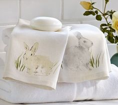 Watercolor Bunny Guest Towels, Set of 2 #potterybarn