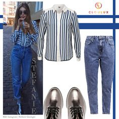 Stefanie Giesinger in einer coolen Mom-Jeans mit Metallic Schnürschuhen Mom Jeans, Metallic, Polyvore, Pants, Style, Fashion, Trouser Pants, Swag, Moda