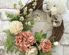 Spring Wreath, Front Door Wreath, Silk Floral Wreath, Grapevine Wreath, Spring Decor, Summer Wreath for Door, Outdoor Wreath, Spring Floral