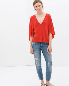Image 1 of FLOWING CAPE-STYLE BLOUSE from Zara