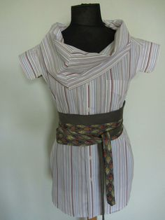 Upcycled Clothing / Brown and Blue Striped shirt by GarageCoutureClothes