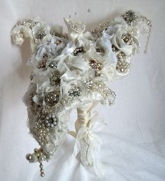 Wedding Jewelry Bouquet, Rhinestone Wedding Accessory, Calla Lily, avant garde, fantasy, Haute Couture, crystals and beads, LAYAWAY PLANS. $427.00, via Etsy.