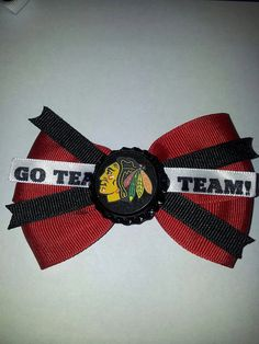 Chicago Blackhawks hair bow by HairCandy4 on Etsy, $7.00