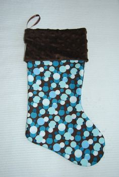 christmas stocking.  Blue Bubbles Christmas Stocking Cyndiloo by cyndilooboutique, $20.00