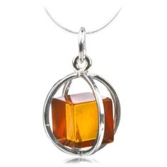 Honey Amber Cube Millennium Collection Sterling Silver Spherical Pendant Snake…