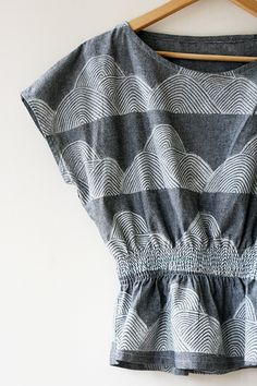 Print, Pattern, Sew: June 2015 by Jen Hewett. One-color block print on cotton chambray.