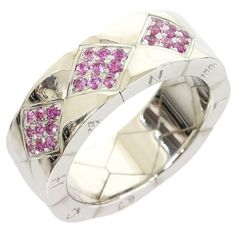 Chanel 18k White Gold Wide Quilted Matelasse Pink Sapphire Ring Us7 Eu54