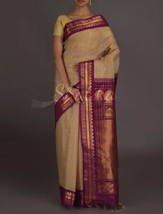 Shyamala Beige And Purple Plush #GadwalSilkCottonSaree