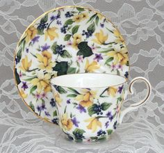 Daffodil Chintz English Tea Cup Bone China Tea Cups and Saucers from England