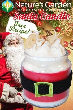 Santa Candle Recipe is available at Natures Garden Candle Making Recipes. Our holiday candle recipe shows how to make a Christmas candle from scratch. Mason Jar Candles, Diy Candles, Scented Candles, Holiday Candles, Christmas Candle, Christmas Crafts, Rustic Cabin Decor, Rustic Cabins, Log Cabins