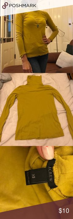 J. Crew Chartreuse Tissue Turtleneck Unique color! Soft tissue turtle neck only worn a few times. No trades or pp. bundles and offers are welcome! J. Crew Tops Tees - Long Sleeve