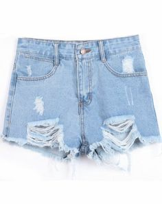 Blue Ripped Fringe Denim Shorts pictures