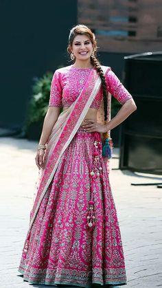 Jacqueline Fernandez Banglori Silk A Line Lehenga Choli In Pink Colour indian Indian Lehenga, Pink Lehenga, Bridal Lehenga Choli, Lehenga Wedding, Lehnga Dress, Indian Wedding Outfits, Bridal Outfits, Indian Outfits, Bridal Dresses