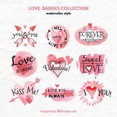 Colección de acuarela de insignias de amor