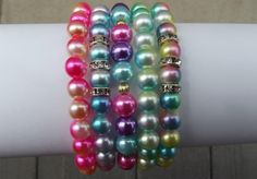 Set of five stretch bracelet set. These colors are so beautiful. The weight of the set is really lite weight. Stretch Bracelets, Beaded Bracelets, Jewelry Sets, Jewelry Making, Bracelet Set, Jewels, Color, Inspiration, Beautiful