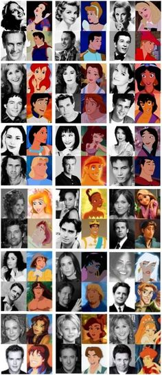 Cartoon characters with their actors and actresses